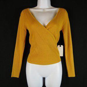 Leith NEW Small Rib knit top Mustard yellow Deep V
